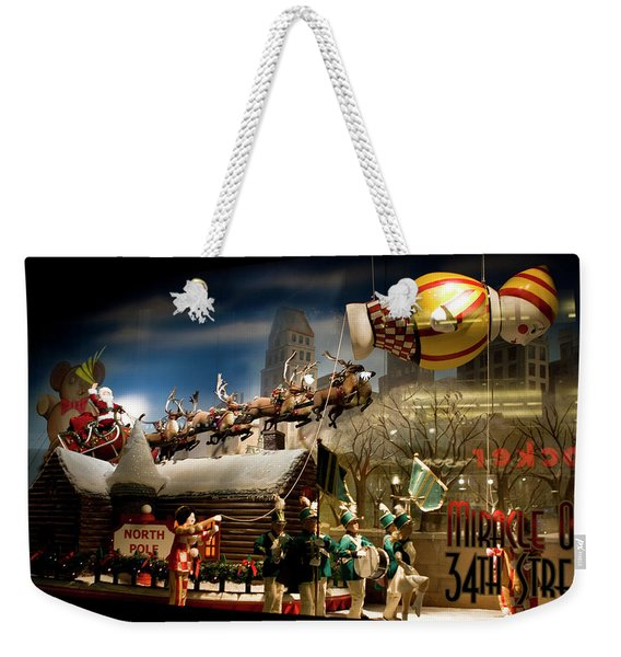 Weekender Tote Bag featuring the photograph Macy's Miracle On 34th Street Christmas Window by Lorraine Devon Wilke