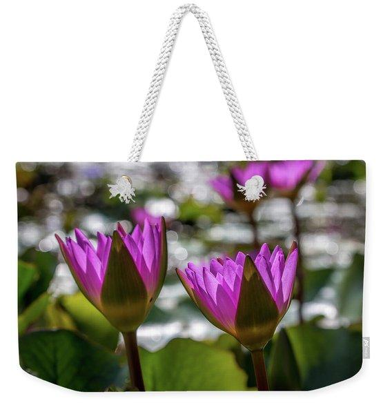 Magenta Water Lilies Weekender Tote Bag