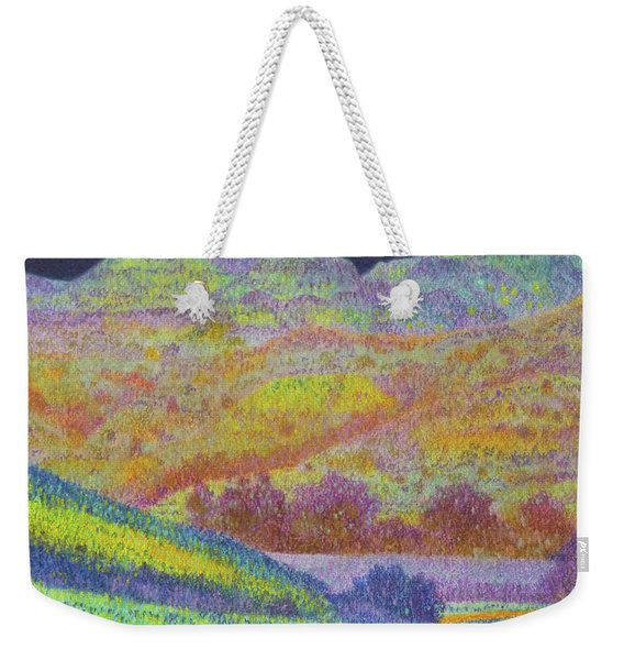 Weekender Tote Bag featuring the painting Magical Midnight Grasslands by Cris Fulton