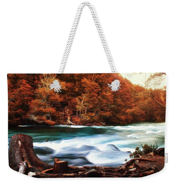 Autumnal Landscape With Lake In The Argentine Patagonia Weekender Tote Bag