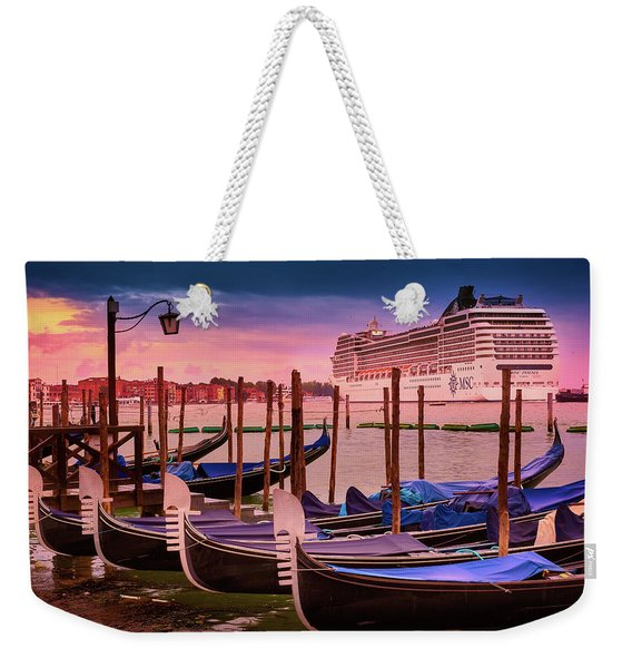Gondolas And Cityscape At Sunset In Venice, Italy Weekender Tote Bag