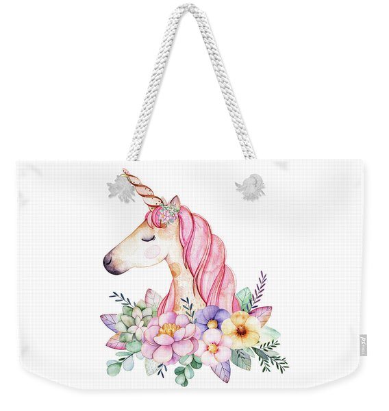 Magical Watercolor Unicorn Weekender Tote Bag