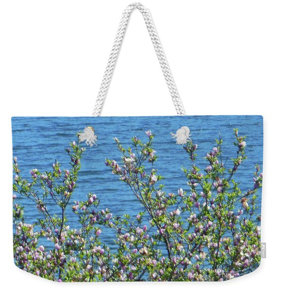 Magnolia Flowering Tree Blue Water Weekender Tote Bag