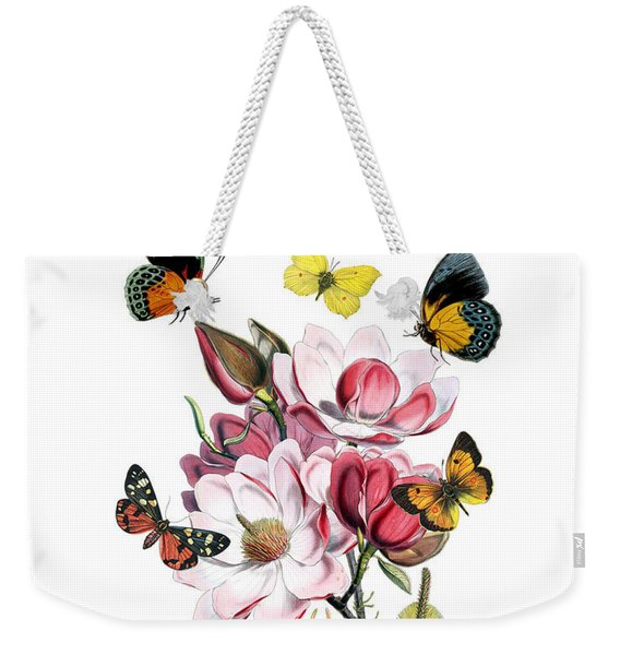 Magnolia With Butterflies Weekender Tote Bag