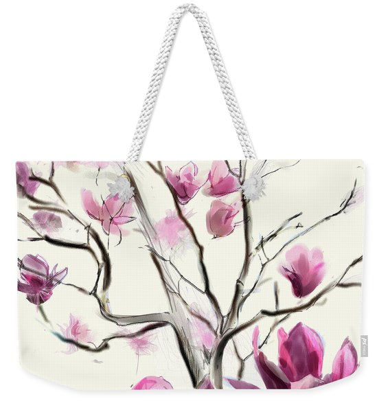 Weekender Tote Bag featuring the digital art Magnolias In Bloom by Gina Harrison