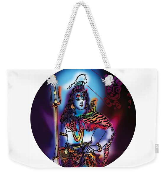 Weekender Tote Bag featuring the painting Maheshvara Shiva by Guruji Aruneshvar Paris Art Curator Katrin Suter