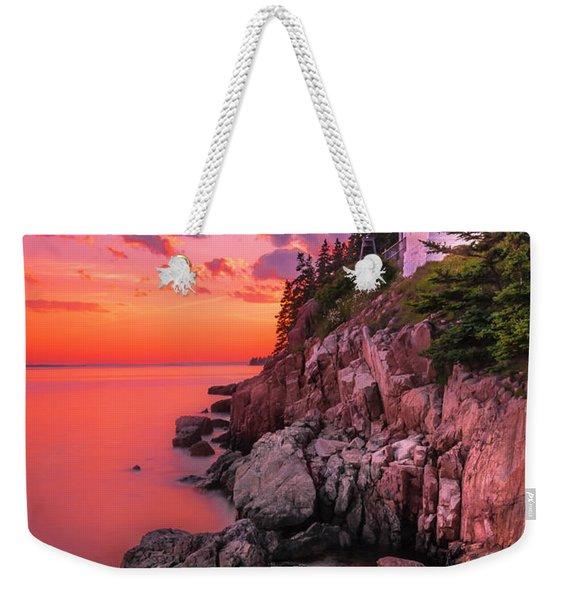 Maine Bass Harbor Lighthouse Sunset Weekender Tote Bag