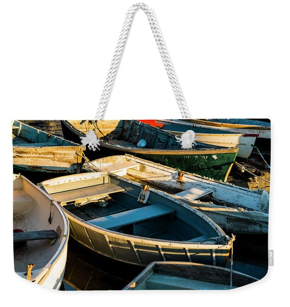 Maine Boats At Sunset Weekender Tote Bag
