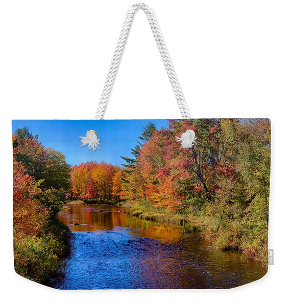 Weekender Tote Bag featuring the photograph Maine Brook In Afternoon With Fall Color Reflection by Jeff Folger