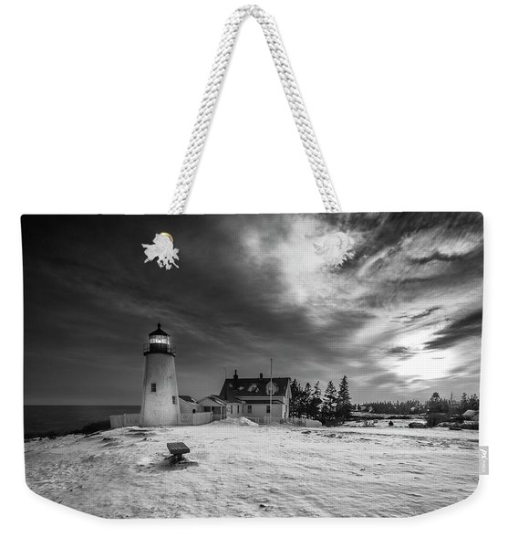 Weekender Tote Bag featuring the photograph Maine Coastal Storm Over Pemaquid Lighthouse by Ranjay Mitra