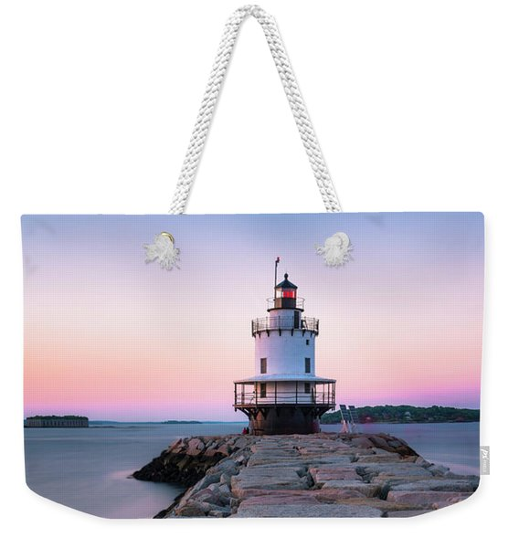 Maine Coastal Sunset Over The Spring Breakwater Lighthouse Weekender Tote Bag