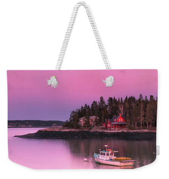 Weekender Tote Bag featuring the photograph Maine Five Islands Coastal Sunset by Ranjay Mitra