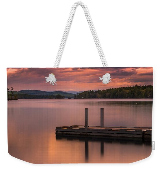 Weekender Tote Bag featuring the photograph Maine Highland Lake Boat Ramp At Sunset by Ranjay Mitra