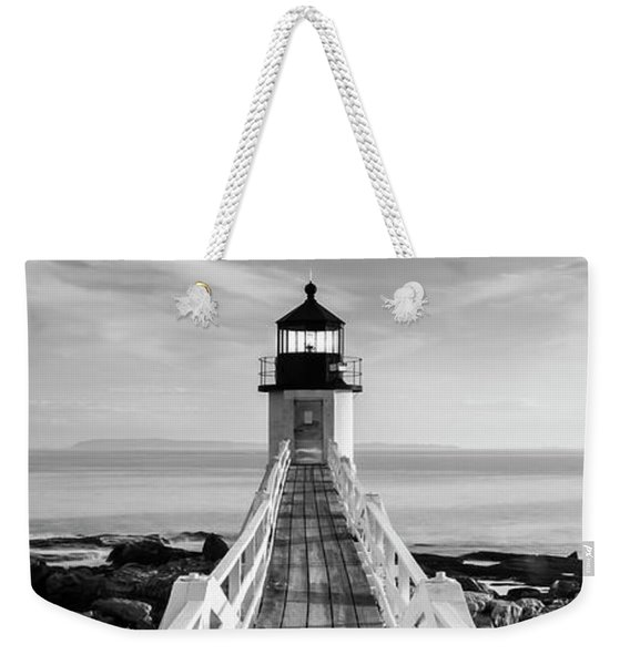 Maine Marshall Point Lighthouse Vertical Panorama In Black And White Weekender Tote Bag
