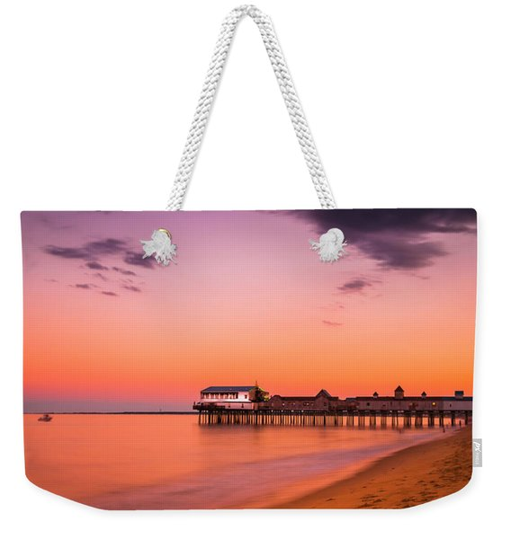 Maine Old Orchard Beach Pier At Sunset Weekender Tote Bag