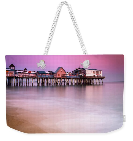Maine Old Orchard Beach Pier Sunset  Weekender Tote Bag