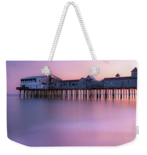 Weekender Tote Bag featuring the photograph Maine Oob Pier At Sunset Panorama by Ranjay Mitra