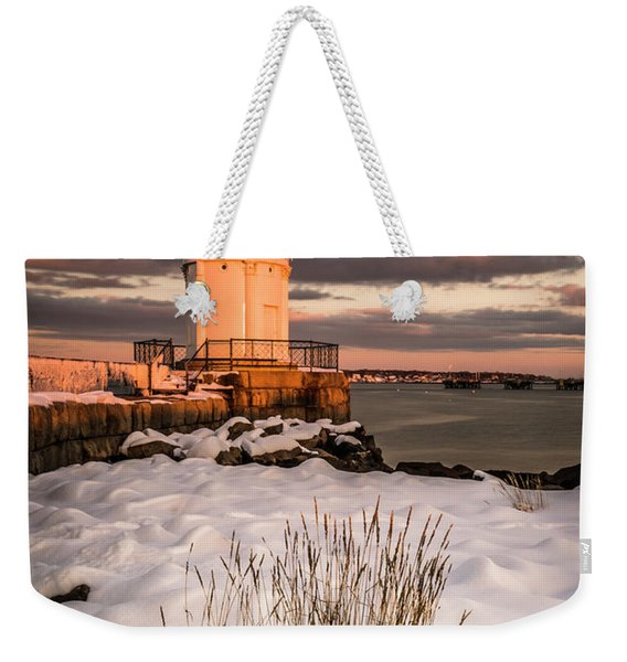 Weekender Tote Bag featuring the photograph Maine Portland Bug Light Lighthouse Sunset  by Ranjay Mitra