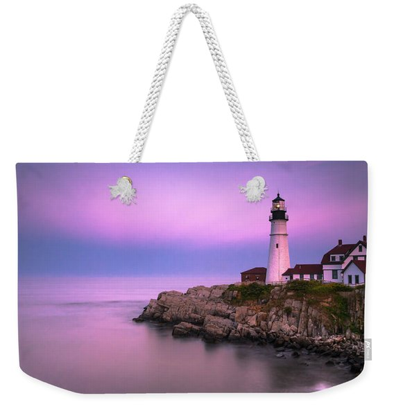 Weekender Tote Bag featuring the photograph Maine Portland Headlight Blue Hour Panorama by Ranjay Mitra