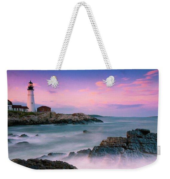 Maine Portland Headlight Lighthouse At Sunset Panorama Weekender Tote Bag