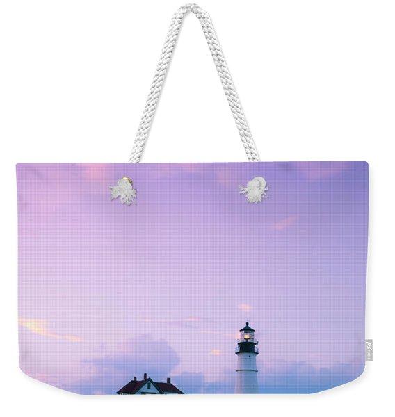 Maine Portland Headlight Lighthouse In Blue Hour Weekender Tote Bag