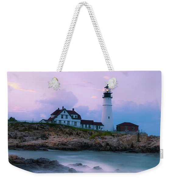 Maine Portland Headlight Lighthouse In Blue Hour Weekender Tote Bag