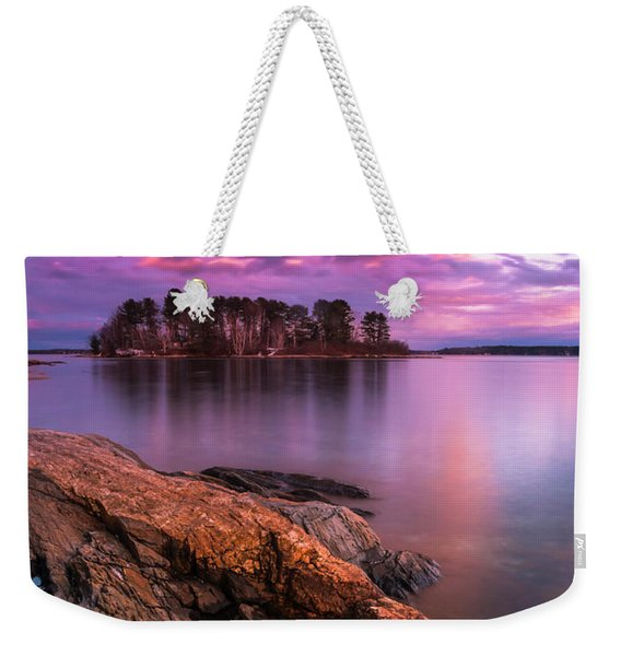 Maine Pound Of Tea Island Sunset At Freeport Weekender Tote Bag