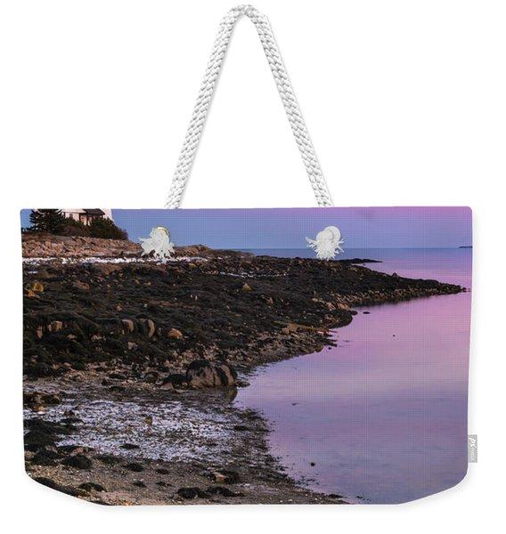 Maine Prospect Harbor Lighthouse Sunset In Winter Weekender Tote Bag