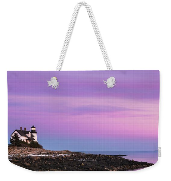 Maine Prospect Harbor Lighthouse Sunset In Winter Weekender Tote Bag