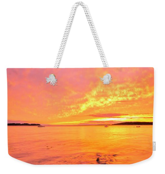 Maine Rocky Coastal Sunset At Kettle Cove Weekender Tote Bag