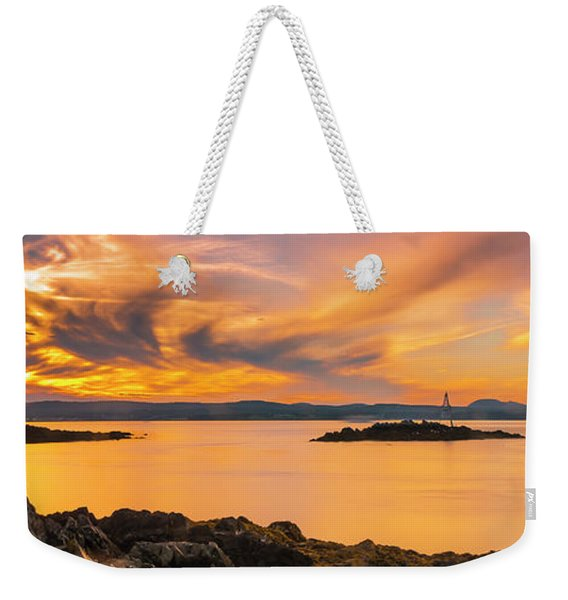 Weekender Tote Bag featuring the photograph Maine Rocky Coastal Sunset In Penobscot Bay Panorama by Ranjay Mitra