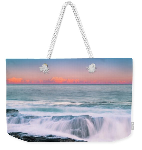 Weekender Tote Bag featuring the photograph Maine Rocky Coastal Sunset Panorama by Ranjay Mitra