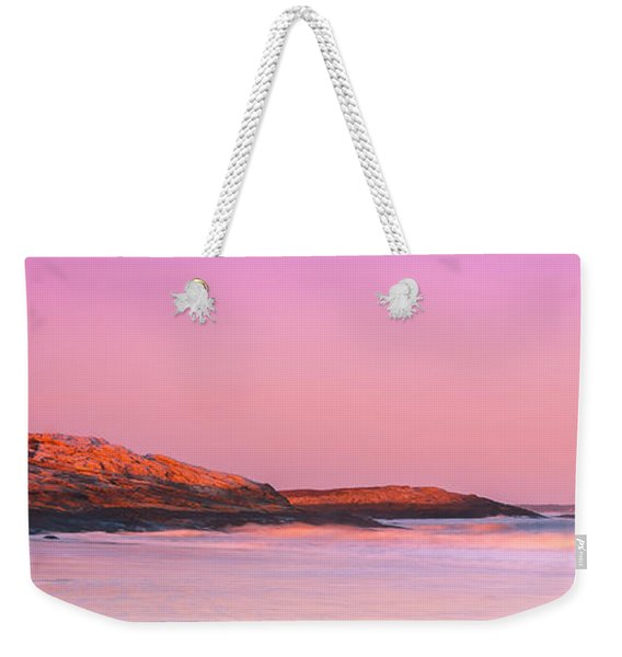 Maine Sheepscot River Bay With Cuckolds Lighthouse Sunset Panorama Weekender Tote Bag
