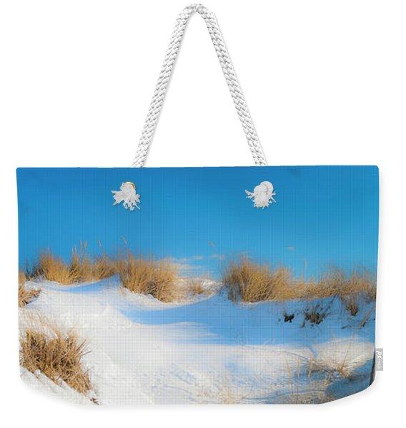 Maine Snow Dunes On Coast In Winter Panorama Weekender Tote Bag
