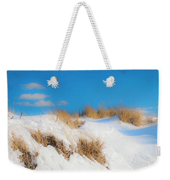 Weekender Tote Bag featuring the photograph Maine Snow Dunes On Coast In Winter Panorama by Ranjay Mitra