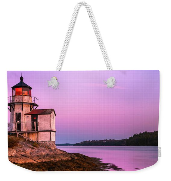 Maine Squirrel Point Lighthouse On Kennebec River Sunset Panorama Weekender Tote Bag