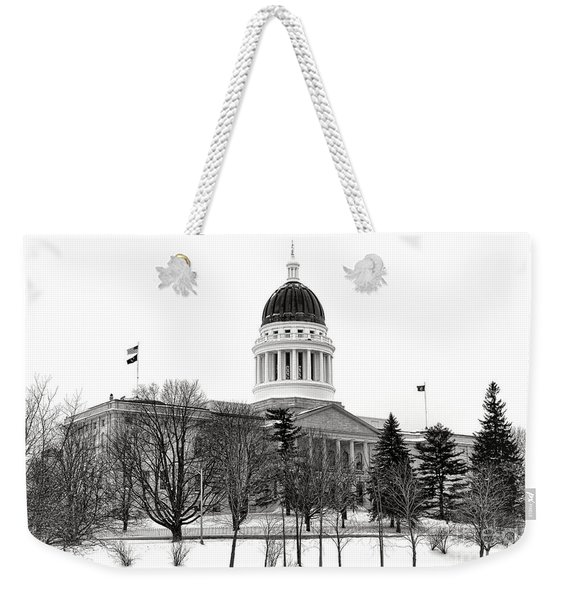 Maine State Capitol In Winter Weekender Tote Bag