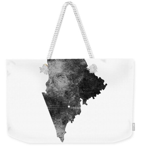 Maine State Map Art - Grunge Silhouette Weekender Tote Bag