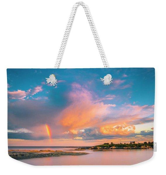 Maine Sunset - Rainbow Over Lands End Coast Weekender Tote Bag