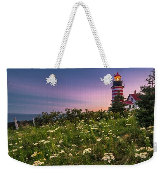 Maine West Quoddy Head Lighthouse Sunset Weekender Tote Bag
