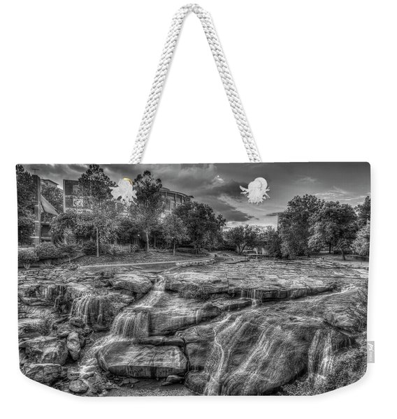 Majestic Reedy River Falls Bw Greenville South Carolina Art Weekender Tote Bag