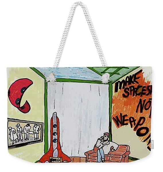 Make Spaships Not Weapons Weekender Tote Bag