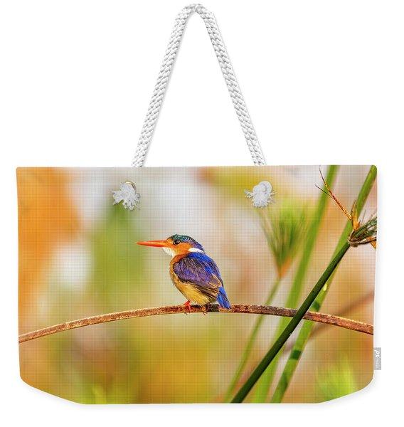 Malachite Kingfisher Hunting Weekender Tote Bag