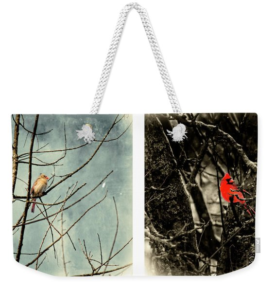 Male And Female Cardinal Weekender Tote Bag