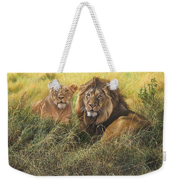 Male And Female Lion Weekender Tote Bag