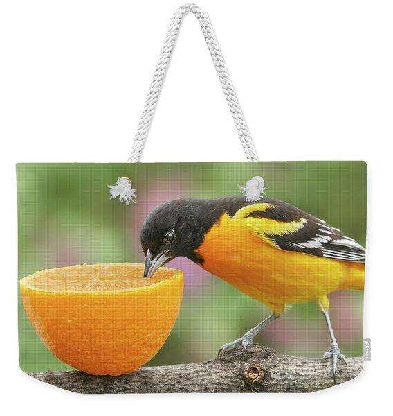 Male Baltimore Oriole Tasting An Orange Weekender Tote Bag