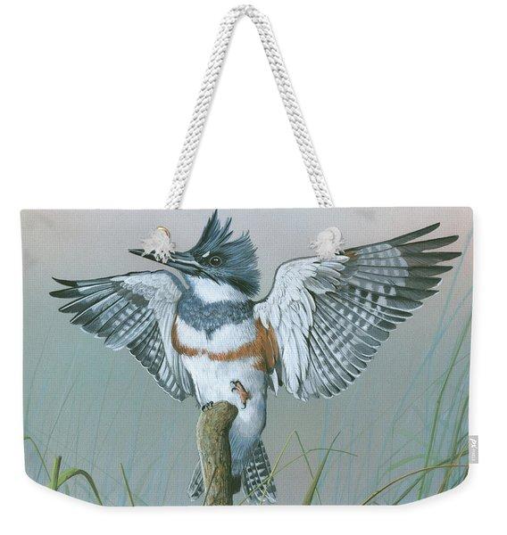 Male Belted Kingfisher Weekender Tote Bag