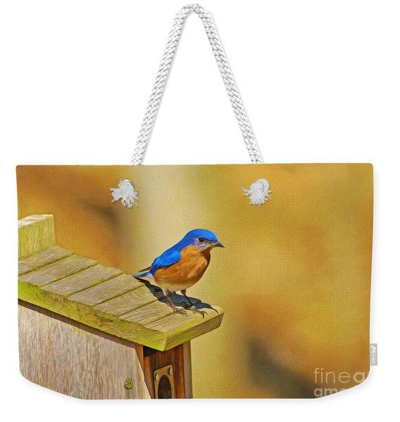 Male Blue Bird Guarding House Weekender Tote Bag