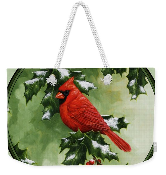 Male Cardinal And Holly Phone Case Weekender Tote Bag