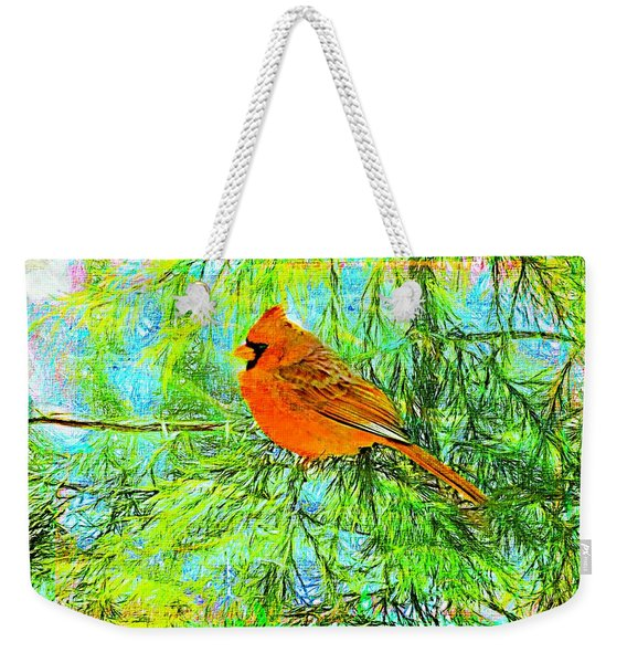 Male Cardinal In Juniper Tree Weekender Tote Bag